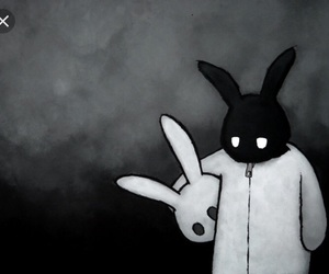 black and white, bunny, and rabbit image
