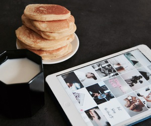 pancakes, breakfast, and milk image