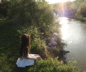 nature, girl, and lake image