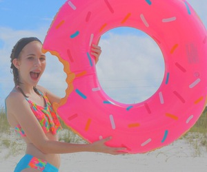 beach, donut float, and bright image