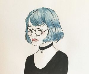 blue hair, choker, and glasses image