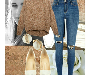 gold, jeans, and simple image