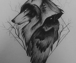art, wolf, and love image