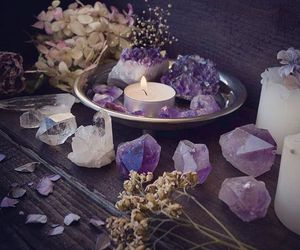 altar, crystals, and fairy image