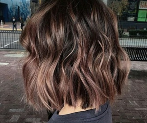 brunette, haircut, and ombre image