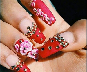 3d, flowers, and nail image