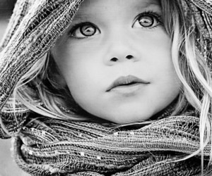 eyes, black and white, and child image