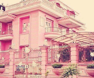 pink, house, and hello kitty image