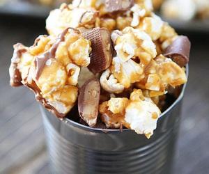 food, chocolate, and popcorn image