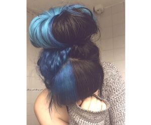 black, blue, and hair image