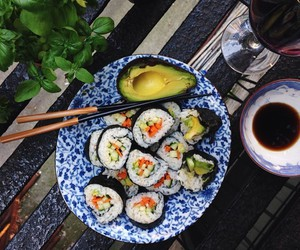 sushi, food, and avocado image