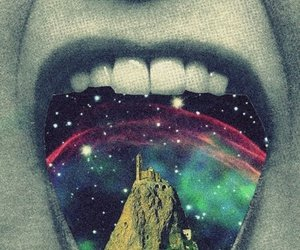 mouth, galaxy, and teeth image