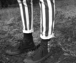 black and white, chucks, and legs image