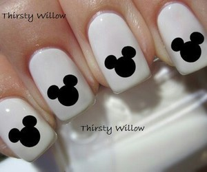 black, mickey mouse, and nail art image
