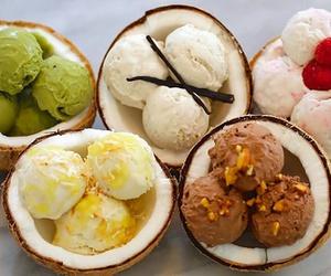 ice cream, coconut, and food image