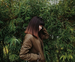 girl, green, and leaves image