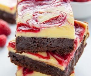food, brownie, and cheesecake image