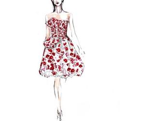 dress, fashion, and sketch image