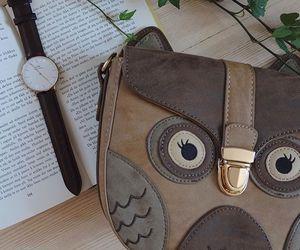 bag, girl, and owl image