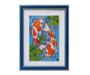 cross stitch, koi carp, and koi fish image