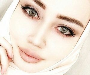 beauty, eyes, and hijab style image