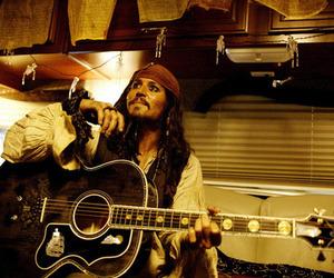 johnny depp, guitar, and jack sparrow image