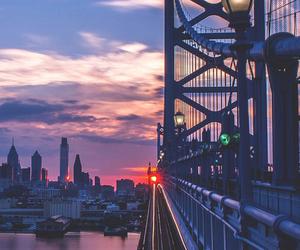 city, bridge, and sunset image