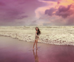 beach, clouds, and fit image