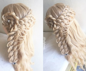 flower, curls, and four strand braid image