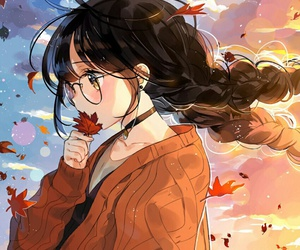 anime, anime girl, and autumn image