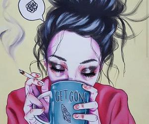 art, coffee, and cigarette image
