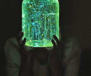 light, green, and jar image