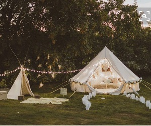 fairy lights, tent, and outside image