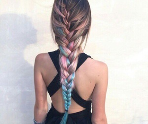 black clothes, blue, and braided hair image