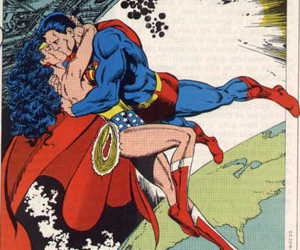 superman, wonder woman, and love image