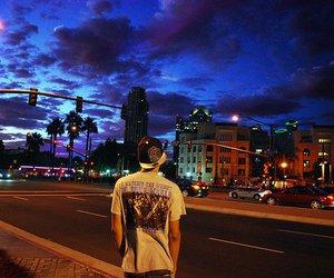 boy, city, and night image