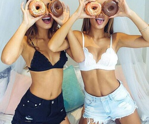 girl, friends, and donuts image