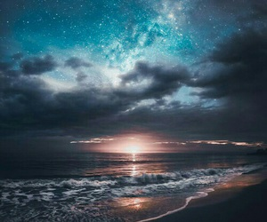 sky, beach, and sea image