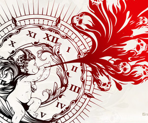 clock, red, and roman numerals image