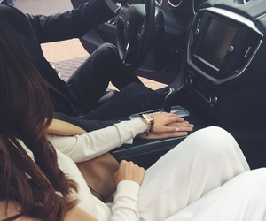 car, couple, and hands image