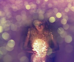 light, girl, and orb image