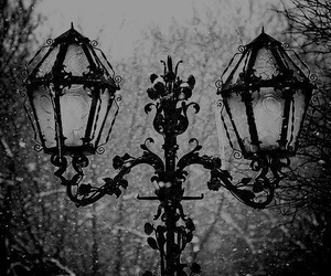 snow, black and white, and lamp image