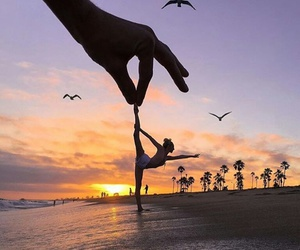 beach, sunset, and dance image
