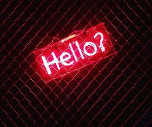 red, hello, and neon image