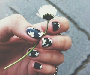 flower, blacknails, and nails image