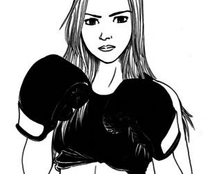 art, black and white, and boxe image