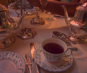 tea, aesthetic, and gold image