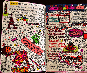 book, doodle, and drawing image