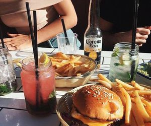 drinks, food, and burger image