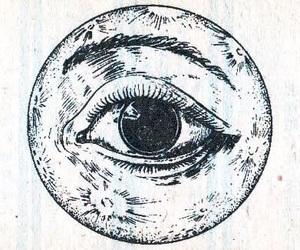 moon, eye, and art image